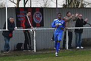 Greenwich Borough's Mohamed Eisa muted celebrations during the Southern Counties East match between AFC Croydon Athletic and Greenwich Borough at the Mayfield Stadium, Croydon, United Kingdom on 12 March 2016. Photo by Martin Cole.