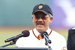 SAN FRANCISCO, CA - JUNE 26: San Francisco mayor Ed Lee speaks during a ceremony honoring Matt Cain #18 of the San Francisco Giants (not pictured) for his perfect game, pitched on June 13, 2012, before the game against the Los Angeles Dodgers at AT&T Park on June 26, 2012 in San Francisco, California. The San Francisco Giants defeated the Los Angeles Dodgers 2-0. (Photo by Jason O. Watson/Getty Images) *** Local Caption *** Ed Lee