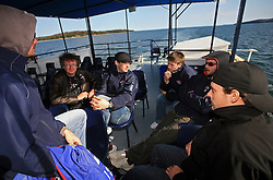 Slovenian hockey team (from L: Golicic, xy, Razingar, Hafner, Varl and Milovanovic) at whale watching boat when some players were celebrating an anniversary of playing for Slovenian National Team for 100 (120) times, during IIHF WC 2008 in Halifax,  on May 07, 2008, sea at Halifax, Nova Scotia,Canada.(Photo by Vid Ponikvar / Sportal Images)