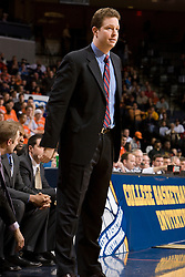 Richmond head coach Chris Mooney.  The Virginia Cavaliers men's basketball team defeated the Richmond Spiders 66-64 in the first round of the College Basketball Invitational (CBI) tournament held at the University of Virginia's John Paul Jones Arena in Charlottesville, VA on March 18, 2008.