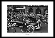 The cavalcade of President John F. Kennedy makes its way through Dublin.<br />