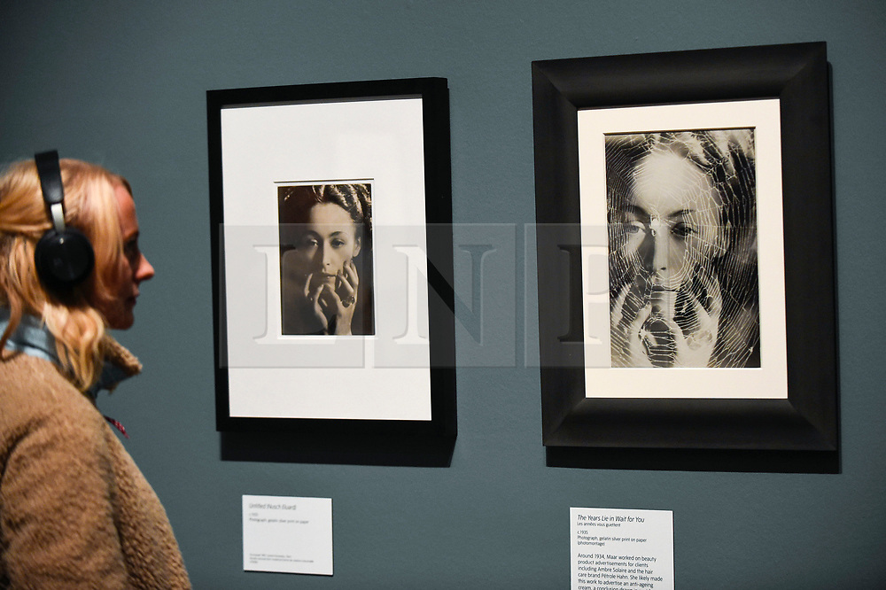 """© Licensed to London News Pictures. 19/11/2019. LONDON, UK. A visitor views """"The Years Lie in Wait For You"""", c1935, and """"Untitled (Nusch Eluard)"""", c1945, by Dora Maar. Preview of the first UK retrospective of Dora Maar (born Henriette Theodora Markovitch, 1907-97) whose photographs and photomontages became celebrated icons of surrealism.  Over 200 of her works are on display in a career spanning more than six decades at Tate Modern 20 November to 15 March 2020.  Photo credit: Stephen Chung/LNP"""