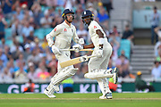 Jack Leach of England and Jofra Archer of England running between the wickets during the 5th International Test Match 2019 match between England and Australia at the Oval, London, United Kingdom on 14 September 2019.