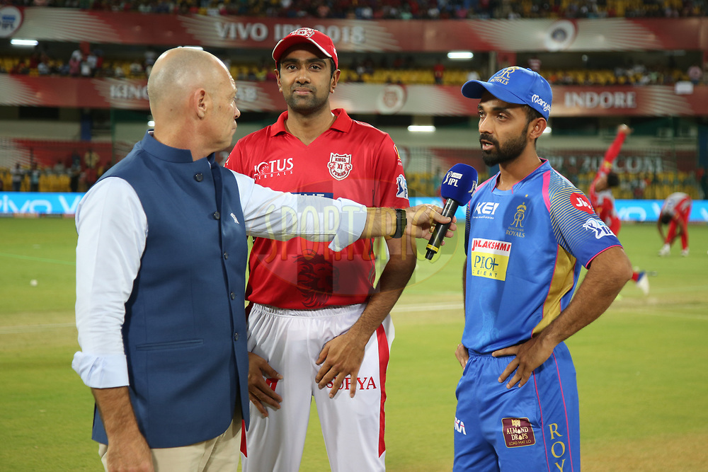 Ravichandran Ashwin of the Kings XI Punjab and Ajinkya Rahane of the Rajasthan Royals during Toss before the start of the match thirty eight of the Vivo Indian Premier League 2018 (IPL 2018) between the Kings XI Punjab and the Rajasthan Royals  held at the Holkar Cricket Stadium, Indore on the 6th May 2018.<br /> <br /> Photo by: Deepak Malik /SPORTZPICS for BCCI