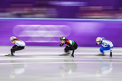 February 17, 2018 - Pyeongchang, Gangwon, South Korea - Sofia Prosvirnova of  New Zealand and Petra Jaszapati of  Hungary competing in 1500 meter speed skating for women at Gangneung Ice Arena, Gangneung, South Korea on 17 February 2018. (Credit Image: © Ulrik Pedersen/NurPhoto via ZUMA Press)