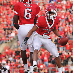 Oct 10, 2009; Piscataway, NJ, USA; Rutgers wide receiver Tim Brown (2) celebrates his touchdown reception with wide receiver Mohamed Sanu (6) during second half NCAA college football action in Rutgers' 42-0 victory over Texas Southern at Rutgers Stadium.