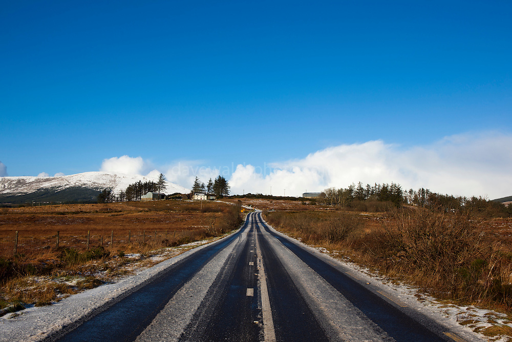 Snow covered N56 road from Killybegs to Ardara in Donegal, Ireland