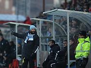FODBOLD: Cheftræner Christian Lønstrup (FC Helsingør) foran udskiftningsboksen under træningskampen mellem Malmö FF og FC Helsingør den 28. januar 2017 på Malmö Idrottsplats. Foto: Claus Birch