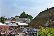 Nederland, Ubbergen, 26-7-2016 Zomer in de Ooijpolder. Drie ooievaars bij logement Oortjeshekken in de Ooijpolder hebben het zo warm dat ze met geopende snavel op een dak zitten . FOTO: FLIP FRANSSEN
