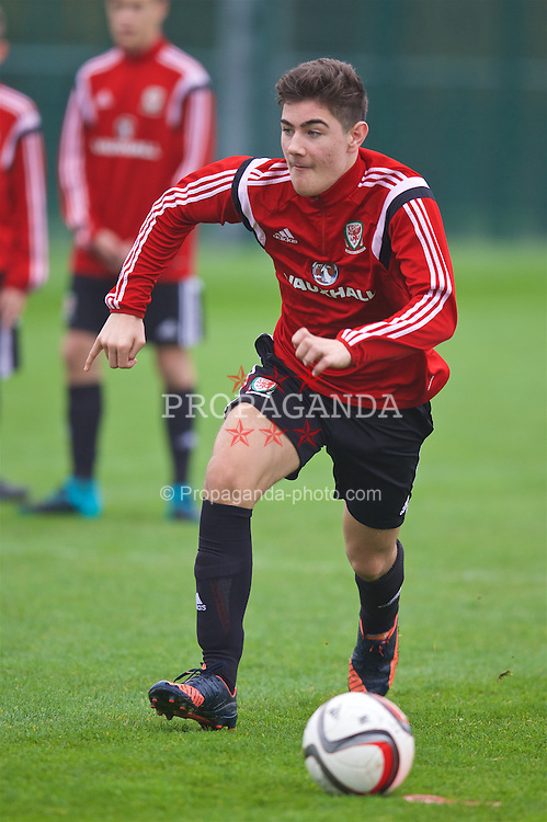 NEWPORT, WALES - Monday, November 2, 2015: Wales' goalkeeper Scott Reed during a training session ahead of the Under-16's Victory Shield International match at Dragon Park. (Pic by David Rawcliffe/Propaganda)
