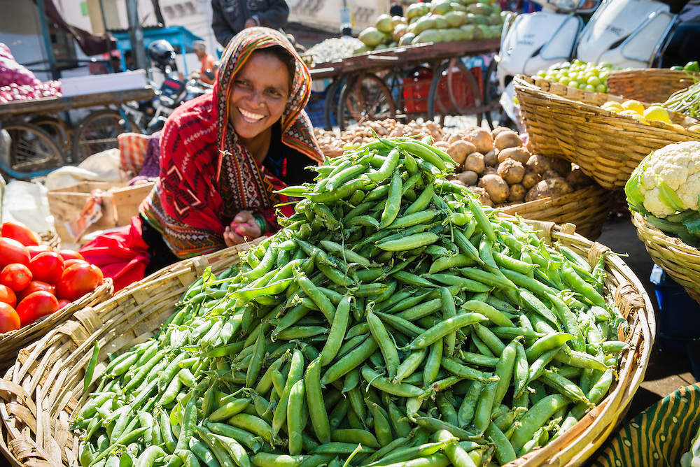 Rajasthani woman selling vegetables in Udaipur market