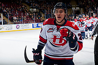 KELOWNA, CANADA - NOVEMBER 17: Jake Elmer #20 of the Lethbridge Hurricanes celebrates a first period goal against the Kelowna Rockets on November 17, 2017 at Prospera Place in Kelowna, British Columbia, Canada.  (Photo by Marissa Baecker/Shoot the Breeze)  *** Local Caption ***