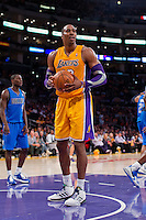 30 October 2012: Center (12) Dwight Howard of the Los Angeles Lakers reacts after being called for his sixth foul against the Dallas Mavericks during the second half of the Mavericks 99-91 victory over the Lakers at the STAPLES Center in Los Angeles, CA.