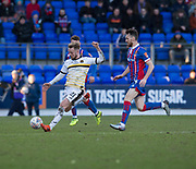24th March 2018, McDiarmid Park, Perth, Scotland; Scottish Football Challenge Cup Final, Dumbarton versus Inverness Caledonian Thistle; Danny Handling of Dumbarton and Joe Chalmers of Inverness Caledonian Thistle