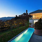 Villa with swimming pool in the night