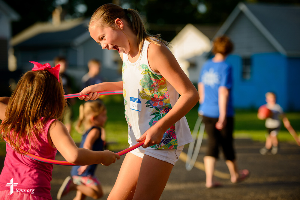 A volunteer and camper play together during Camp Courage VBS at Zion Lutheran Church on Thursday, July 13, 2017, in Ottawa, Ill.  LCMS Communications/Erik M. Lunsford