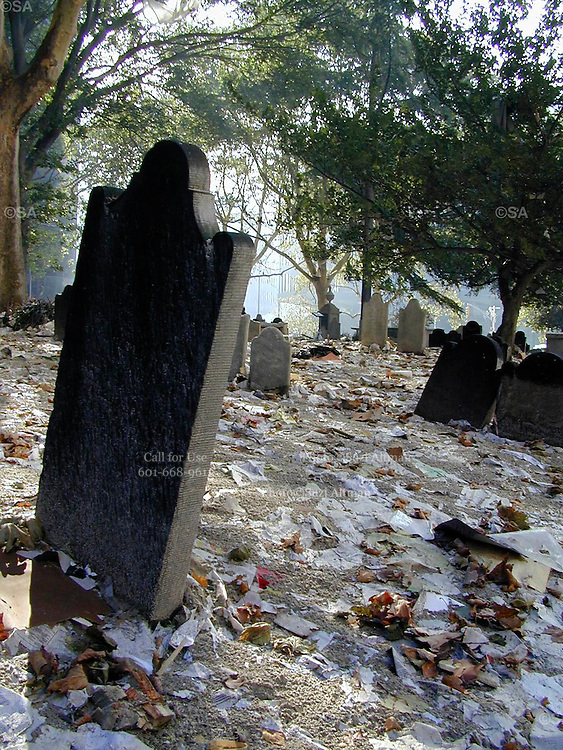 """Headstones covered in debris from the attack on The World Trade Center in the cemetery at Trinity Church. Through my eyes and with my camera I am able to see the world we live in, and try to bring things into focus. Photography preserves my vision of what """"I see"""" at a specific time and place- a moment. Creating a bond between  me and my subject and capturing and emotion for eternity. Having lived and worked in New York City for over 15 years when 911 happened. I had to go and """"see"""" with my camera what lower Manhattan was like after this horrific attack on our Nation. The World Trade Center owned the skyline in lower Manhattan making it feel more like a canyon. After the Twin Towers fell, and I saw with my own eyes and camera the destruction, I realized what little land they actually sat on. The Twin Towers may not have occupied a large plot of land but they now touched everyones life. Photo©SuziAltman"""