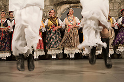 Europe, Croatia, Dalmatia, Dubrovnik.  Folk dancers in traditional costumes.NMR