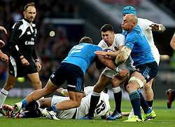 Ben Youngs of England is tackled by Leonardo Ghiraldini and Sergio Parisse of Italy - Mandatory by-line: Robbie Stephenson/JMP - 26/02/2017 - RUGBY - Twickenham Stadium - London, England - England v Italy - RBS 6 Nations round three