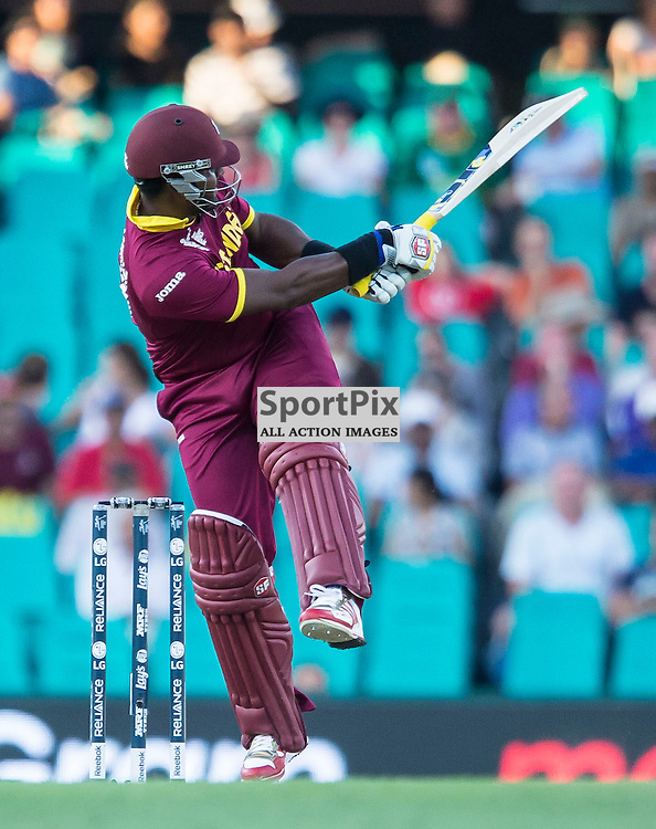 ICC Cricket World Cup 2015 Tournament Match, South Africa v West Indies, Sydney Cricket Ground; 27th February 2015<br /> West Indies Dwayne Smith shot to the boundary