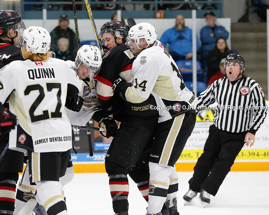 TRENTON, ON - MAR 7,  2017: Ontario Junior Hockey League, playoff game between the Trenton Golden Hawks and the Newmarket Hurricanes., Rex Moe #14 of the Trenton Golden Hawks and Mckenzie Gray #21 of the Newmarket Hurricanes during the first period<br /> (Photo by Amy Deroche / OJHL Images)