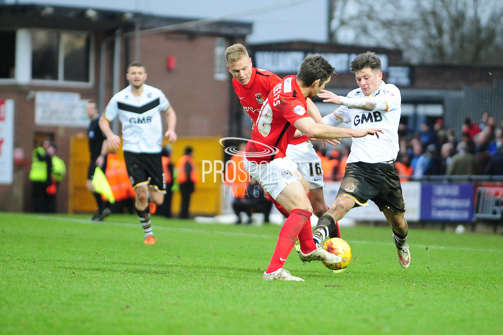 Sam Ricketts of Coventry City FC tackles Matthew Kennedy during the Sky Bet League 1 match between Port Vale and Coventry City at Vale Park, Burslem, England on 7 February 2016. Photo by Mike Sheridan.