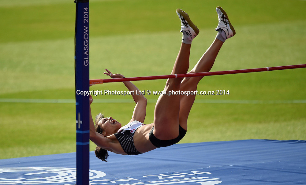 New Zealand's Sarah Cowley in the Women's High Jump Final Competition. Track and Field at Hampden Park. Glasgow Commonwealth Games 2014. Friday 1 August 2014. Scotland. Photo: Andrew Cornaga/www.Photosport.co.nz