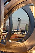 The Baiterek, the New Astana's main symbol and landmark, seen through the futuristic fountain at the State Gas Headquarters.