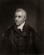Dudley Ryder (1762-1847) lst Earl of Harrowby, English Tory (Conservative) politician. As Dudley Ryder held the Parliament seat for Tiverton, Devon (1784-1803) until he inherited his barony, created Earl Harrowby (1809).  Close friend of William Pitt, between 1789 and 1827 he held various offices of state.  In 1827 he refused to serve as Prime Minister under George IV.    Engraving after portrait by Thomas Phillips.