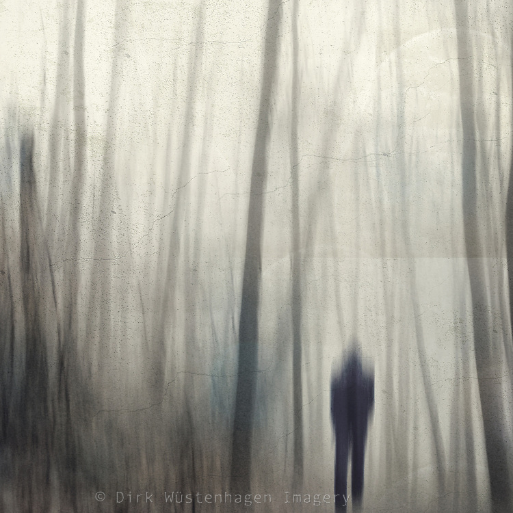 A blurry forest in winter, a lonely person entering it. I like the mood this created.