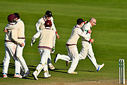 Wicket - Jack Leach of Somerset celebrates taking the wicket of Ryan McLaren of Lancashire during the Specsavers County Champ Div 1 match between Somerset County Cricket Club and Lancashire County Cricket Club at the Cooper Associates County Ground, Taunton, United Kingdom on 14 September 2017. Photo by Graham Hunt.