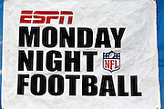 An ESPN Monday Night Football banner decorates the sideline wall at the San Diego Chargers NFL week 11 football game against the Denver Broncos on Monday, November 22, 2010 in San Diego, California. The Chargers won the game 35-14. (©Paul Anthony Spinelli)
