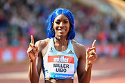 Shaunae Miller-Uibo (BAH) after winning the women's 200m in a time of 22.24 during the Birmingham Grand Prix, Sunday, Aug 18, 2019, in Birmingham, United Kingdom. (Steve Flynn/Image of Sport via AP)