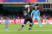 Wicket - Henry Nicholls of New Zealand is bowled by Liam Plunkett of England during the ICC Cricket World Cup 2019 Final match between New Zealand and England at Lord's Cricket Ground, St John's Wood, United Kingdom on 14 July 2019.