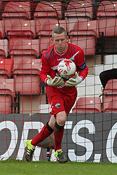 WREXHAM, WALES - Monday, May 2, 2016: The New Saints' goalkeeper Paul Harrison in action against Airbus UK Broughton during the 129th Welsh Cup Final at the Racecourse Ground. (Pic by David Rawcliffe/Propaganda)
