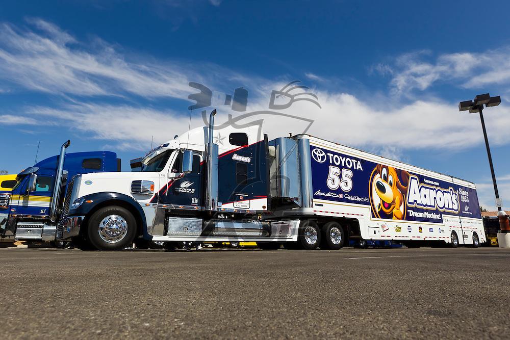 LAS VEGAS, NV - MAR 08, 2012:  The NASCAR Sprint Cup hauler of Mark Martin (55) waits to enter the Las Vegas Motor Speedway before the running of the Kobalt Tools 400 race in Las Vegas, NV.