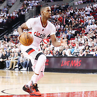 25 April 2016: Portland Trail Blazers forward Maurice Harkless (4) dribbles during the Portland Trail Blazers 98-84 victory over the Los Angeles Clippers, during Game Four of the Western Conference Quarterfinals of the NBA Playoffs at the Moda Center, Portland, Oregon, USA.