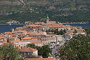 View over Adriatic Sea to city at Korcula. Croatia. Eastern Europe.