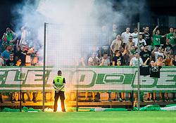 Green Dragons, supporters of Olimpija during football match between NK Domzale and NK Olimpija Ljubljana in Final of Slovenian Cup 2017, on May 31, 2017 in Stadium Bonifika, Koper / Capodistria, Slovenia. Photo by Vid Ponikvar / Sportida