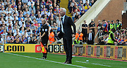 Alan Pardew screams out in disgust at several City challenges during the Barclays Premier League match between Crystal Palace and Manchester City at Selhurst Park, London, England on 12 September 2015. Photo by Michael Hulf.
