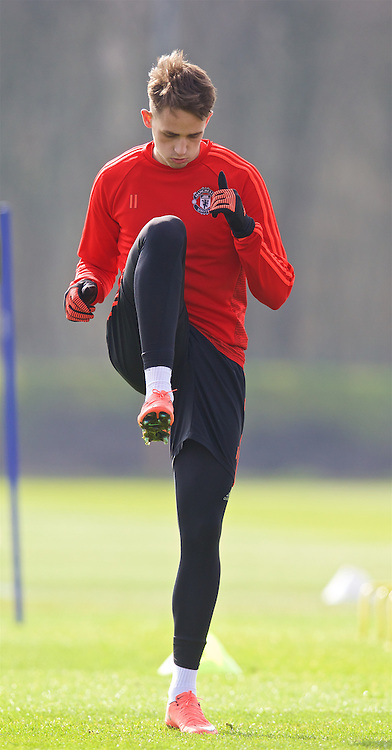 MANCHESTER, ENGLAND - Wednesday, March 16, 2016: Manchester United's Adnan Januzaj during a training session at Carrington Training Ground ahead of the UEFA Europa League Round of 16 2nd Leg match against Liverpool. (Pic by David Rawcliffe/Propaganda)