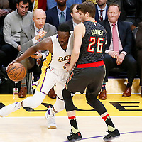 27 November 2016: Atlanta Hawks guard Kyle Korver (26)  defends on Los Angeles Lakers forward Luol Deng (9) during the Los Angeles Lakers 109-94 victory over the Atlanta Hawks, at the Staples Center, Los Angeles, California, USA.