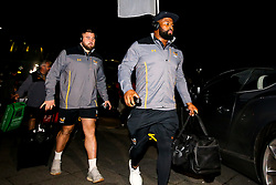 Simon McIntyre of Wasps and Kieran Brookes of Wasps arrive at Sale Sharks - Mandatory by-line: Robbie Stephenson/JMP - 08/11/2019 - RUGBY - AJ Bell Stadium - Manchester, England - Sale Sharks v Wasps - Gallagher Premiership Rugby