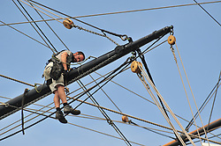 &copy; Licensed to London News Pictures. 04/07/2018<br /> Greenwich, UK.<br /> Dangerous job.<br /> Workmen look to be cleaning the rigging on the Cutty Sark in Greenwich,London.<br /> Photo credit: Grant Falvey/LNP