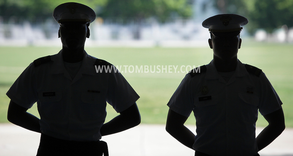 Cadets in the Red Sash wait for new cadets to report during R-Day at the U.S. Military Academy at West Point on Monday, July 2, 2012. About 1,150 cadet candidates reported to Reception Day for the West Point Class of 2016.