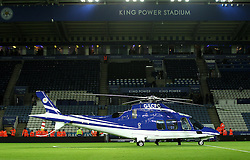 The Leicester City chairman's helicopter lands on the pitch at the King Power Stadium after full time - Mandatory byline: Robbie Stephenson/JMP - 28/11/2015 - Football - King Power Stadium - Leicester, England - Leicester City v Manchester United - Barclays Premier League