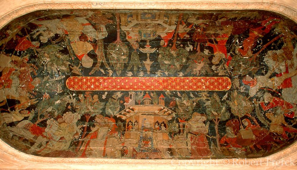 SPAIN, ANDALUSIA, GRANADA ALHAMBRA; painting of Moorish court