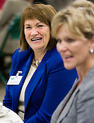 Judith Clabes, president and CEO of the Scripps Howard Foundation, and Julie Scripps-Heidt talk with others at their table during the Women in Philanthropy Celebration and Conversation luncheon at the Scripps College Celebration.