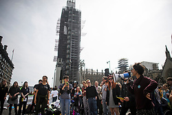 © Licensed to London News Pictures. 18/04/2019. London, UK. Protesters from Extinction Rebellion occupy Parliament Square for a fourth day. Protesters are demanding urgent government action on climate change. Photo credit: Ben Cawthra/LNP