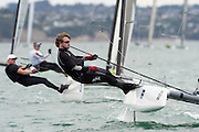 Thilo Keller (GER7), race seven of the A Class World championships regatta being sailed at Takapuna in Auckland. 15/2/2014